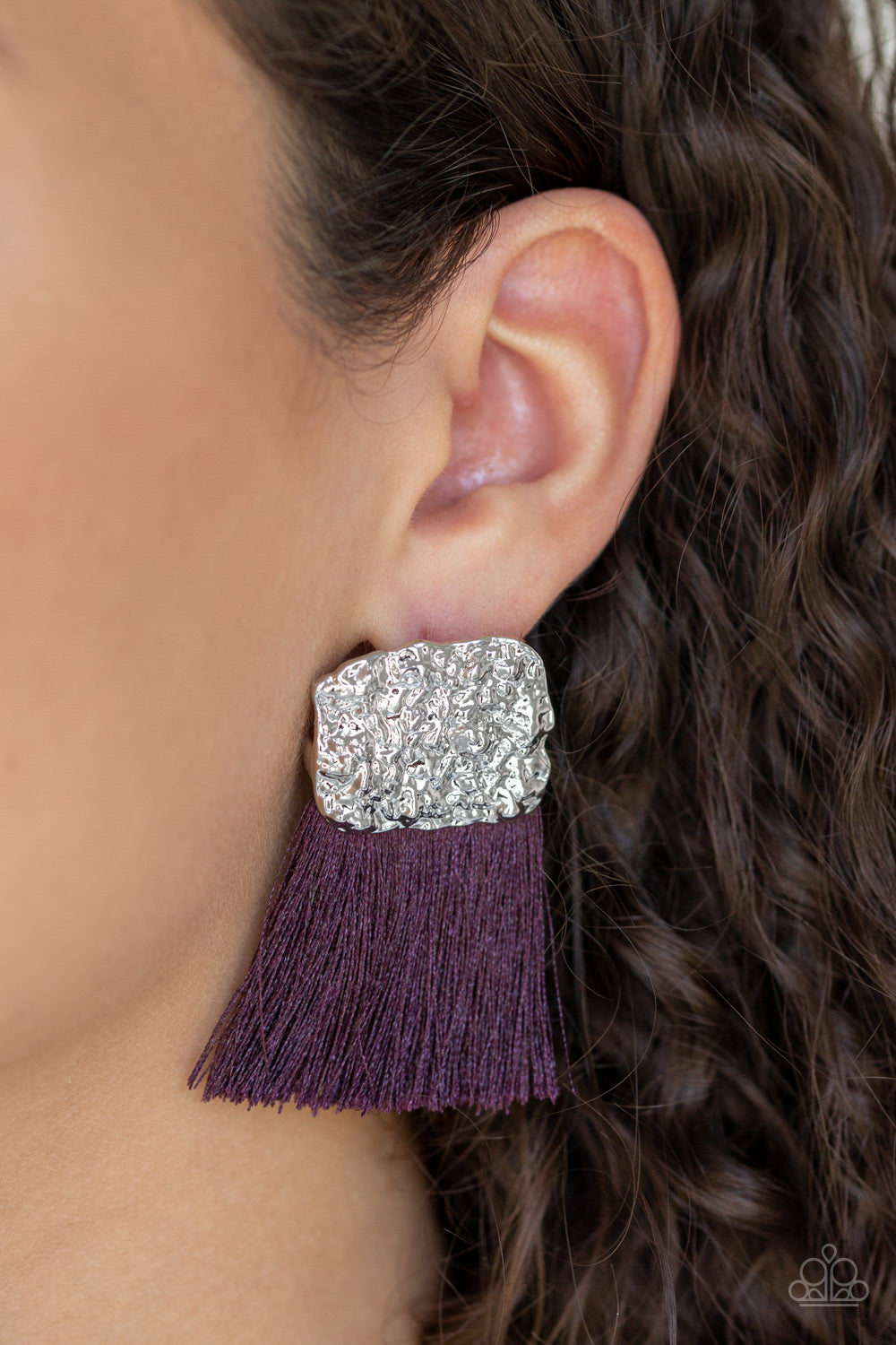 Paparazzi Plume Bloom Purple Pierced Earrings