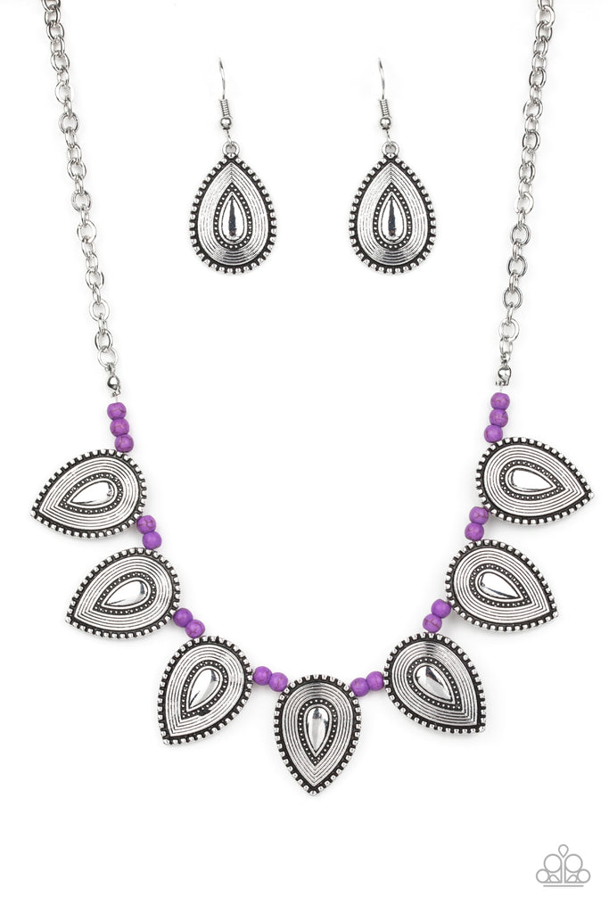 Paparazzi Terra Trailblazer Purple Necklace & Earrings Set