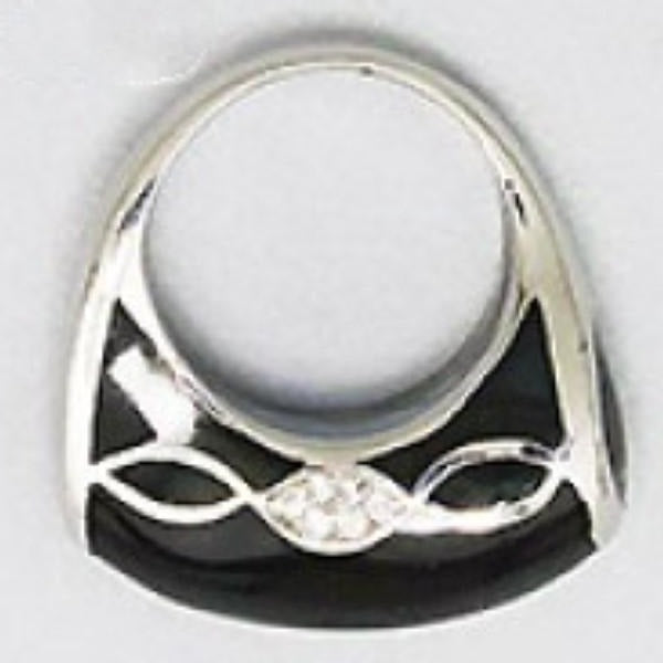 Black Enamel, Silver Tone & Clear Rhinestone Fashion Ring