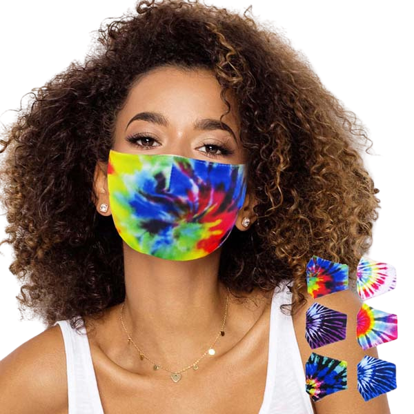 12 Face Masks Rainbow Tie Dye 100% Cotton Reusable Washable Cloth Adult Unisex