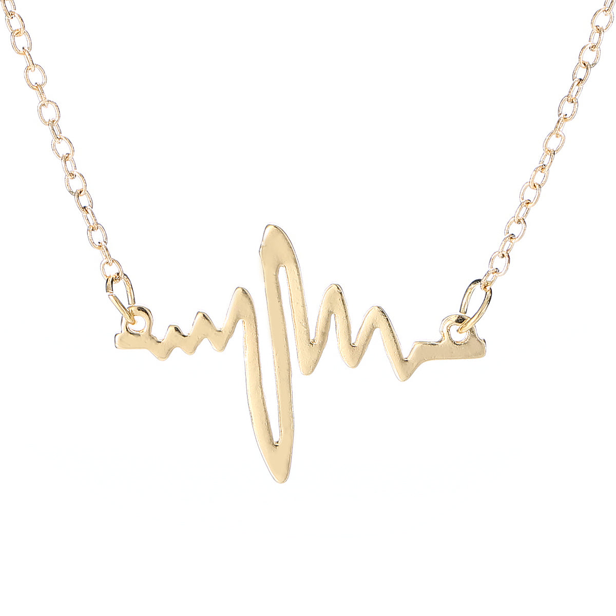 Heartbeat With Small Dangle Heart Gold Tone Necklace