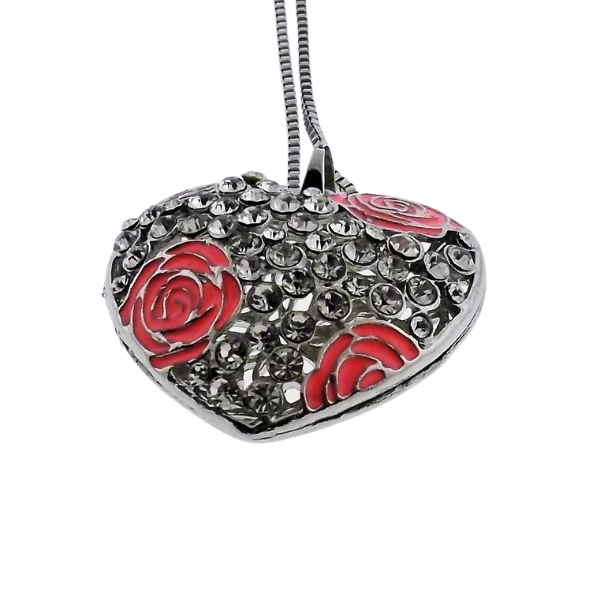 Betsey Johnson Pink Rose Heart Rhinestone Silver Pendant Necklace