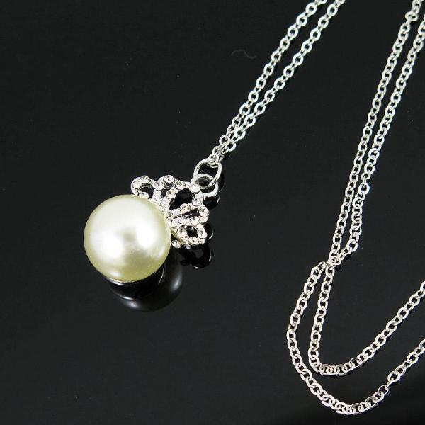 Round Pearl (Faux) & Rhinestones Silver Tone Necklace 18""