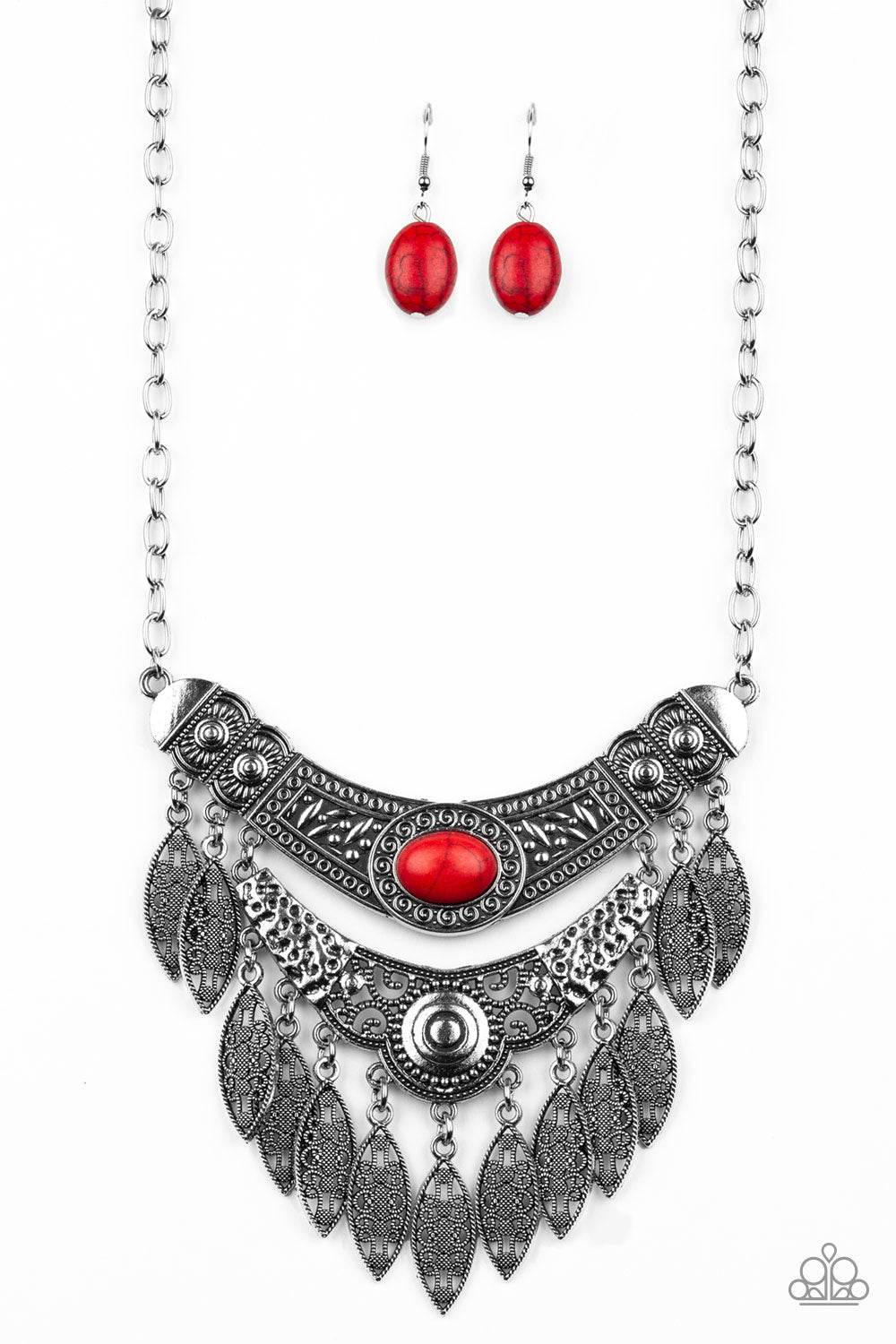Paparazzi Island Queen Red Stone Necklace & Earrings Set