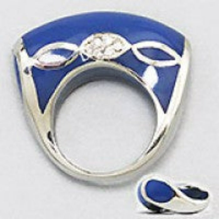 Blue Enamel, Silver Tone & Clear Rhinestone Fashion Ring