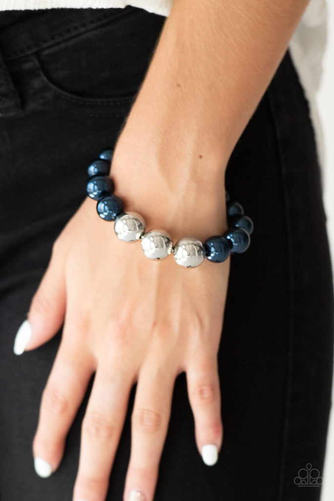 """All Dressed UPTOWN"" Pearly Blue and Silver Beaded Stretch Bracelet"