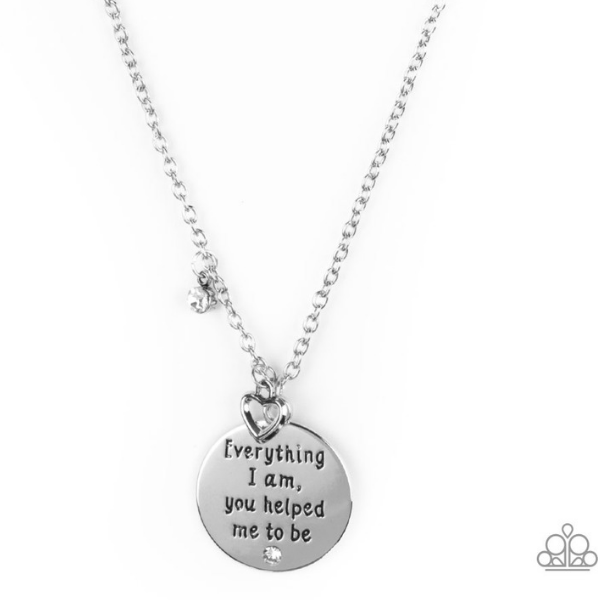 """Everything I Am - White"" Silver Heart Necklace & Earrings Set"