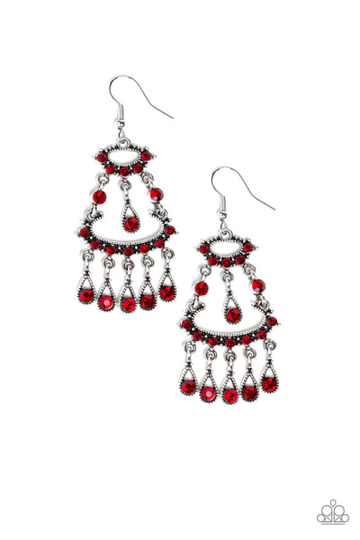 """Chandelier Shimmer"" Red Rhinestone Earrings"