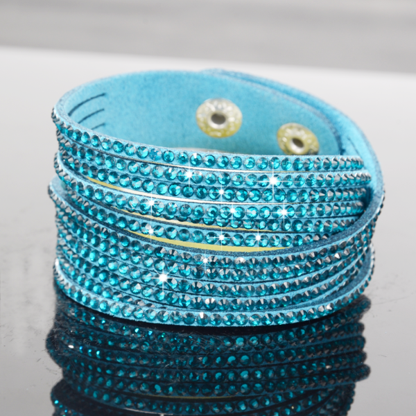 Teal Blue Suede Sparkly Rhinestone Double Wrap Bracelet