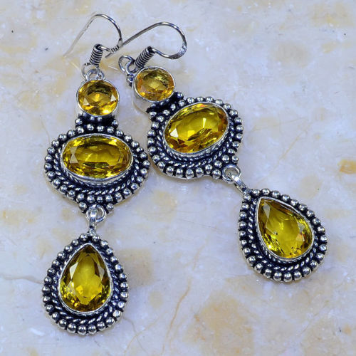 YELLOW CITRINE 3 STONE ORNATE SILVER PLATED 3