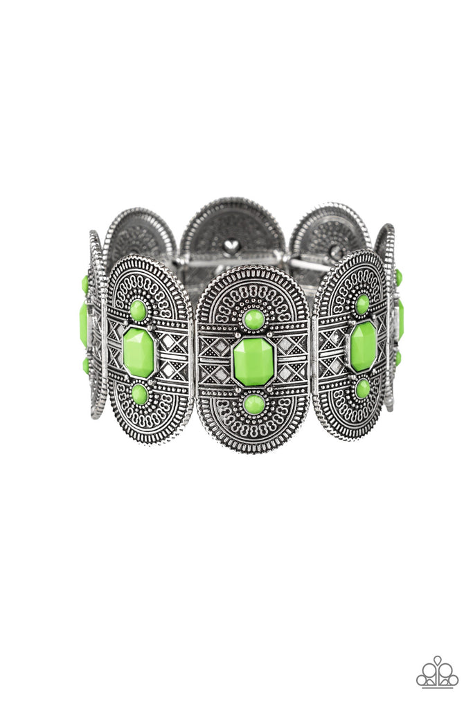 """Turn Up The TROPICAL Heat - Green"" Stretch Bracelet"
