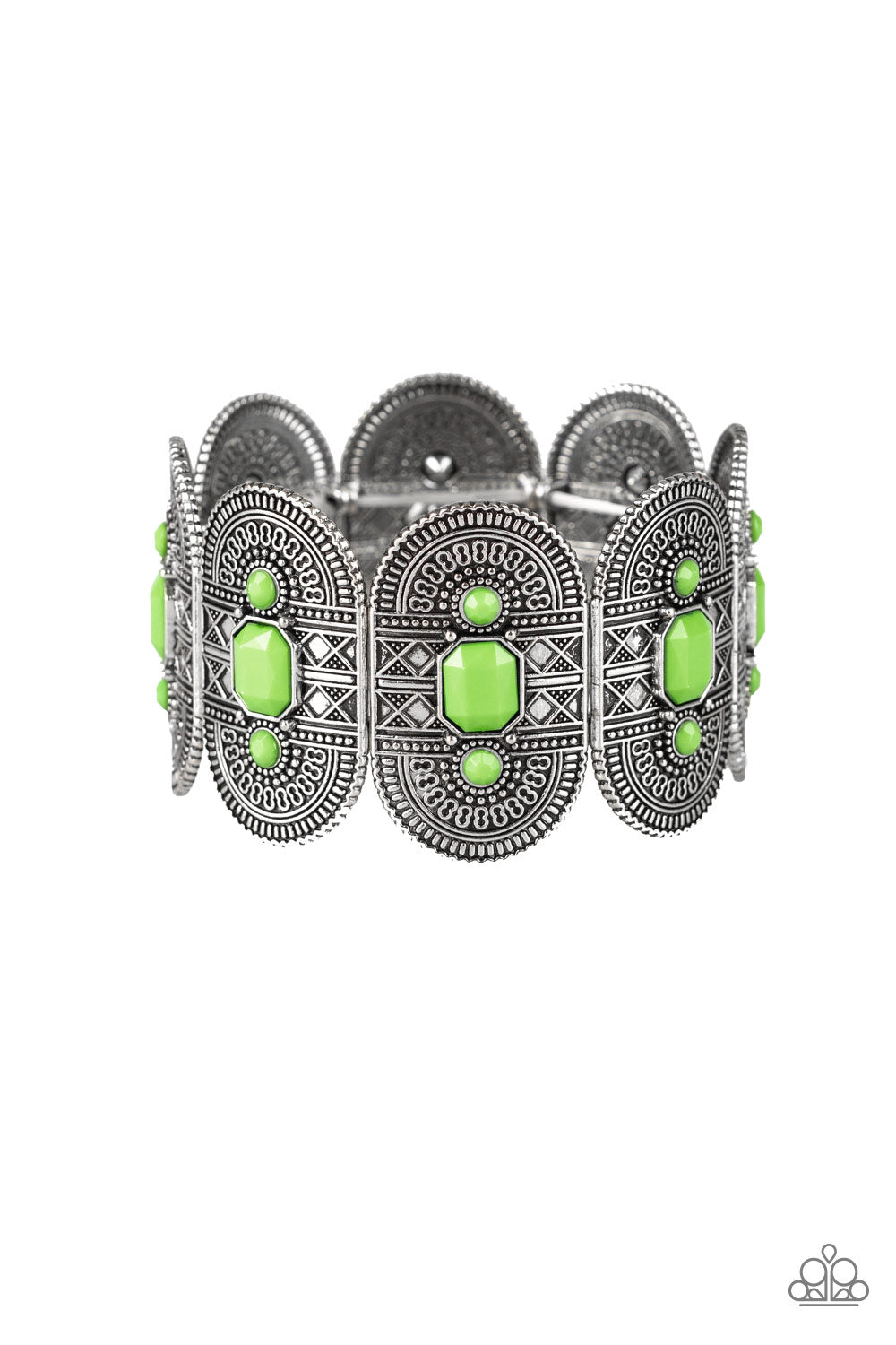 Paparazzi Turn Up The TROPICAL Heat - Green Stretch Bracelet