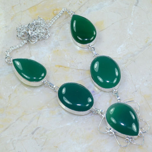CHRYSOPRASE GREEN GEMSTONE SILVER PLATED 17 3/4