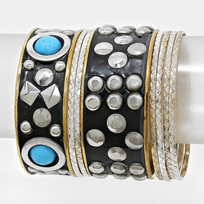 7 Piece Turquoise Blue, Black, Gold, Rhodium Studded Bangle Bracelets