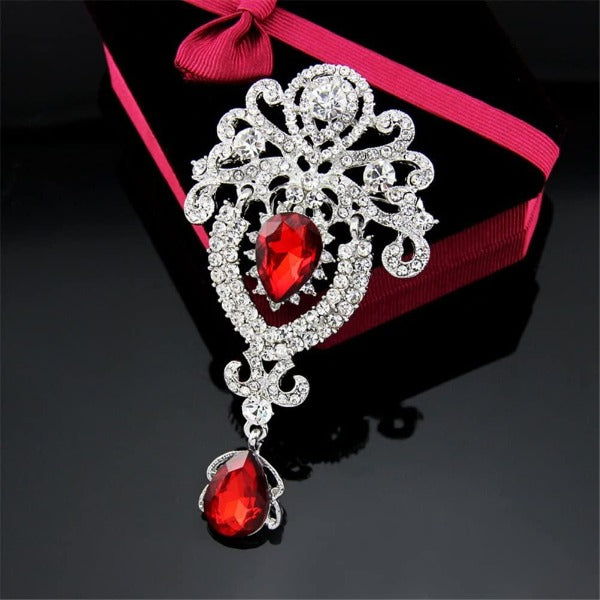 Vintage Red Crystal Teardrop Silver Brooch