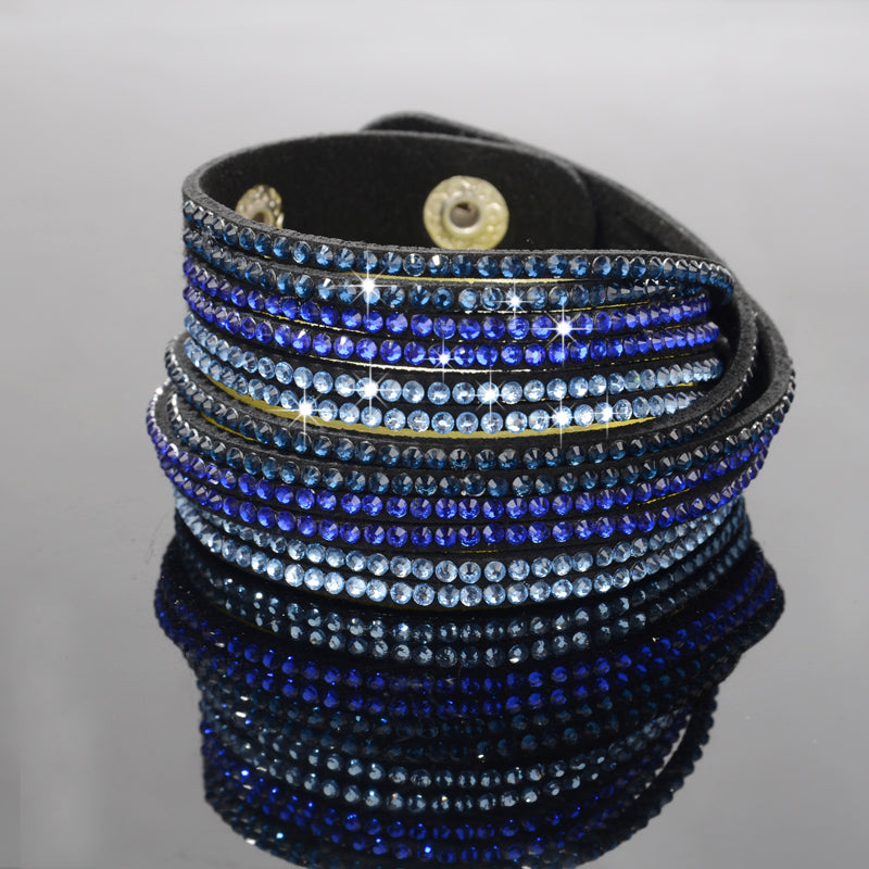 Dark Blue White Sparkly Rhinestone Black Suede Double Wrap Bracelet
