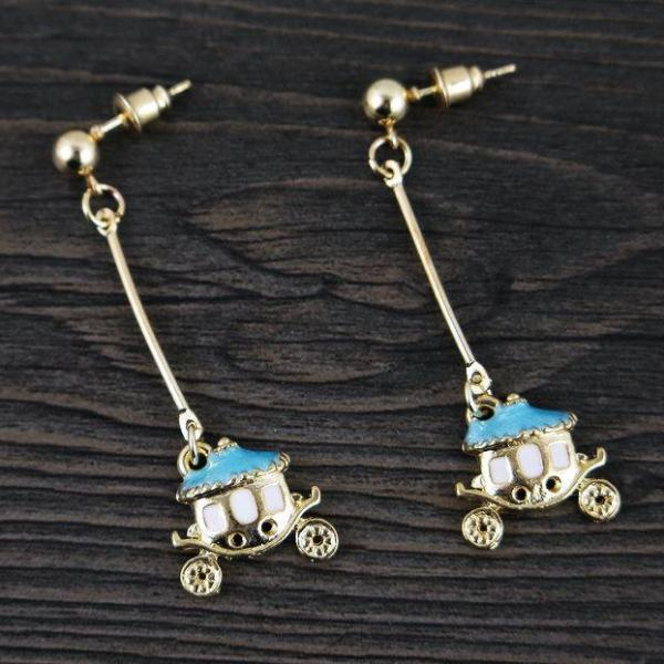 Betsey Johnson Blue & Golden Carriage Gold Ball Dangle Earrings