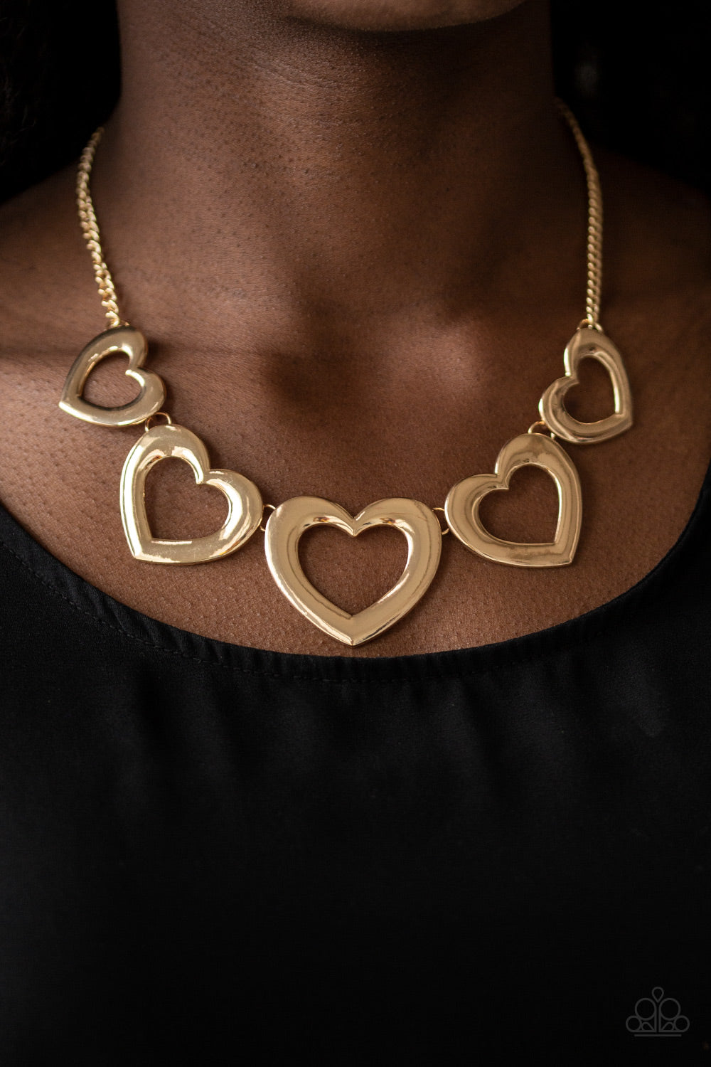 """Hearty Hearts Gold"" Heart Necklace & Earrings Set"