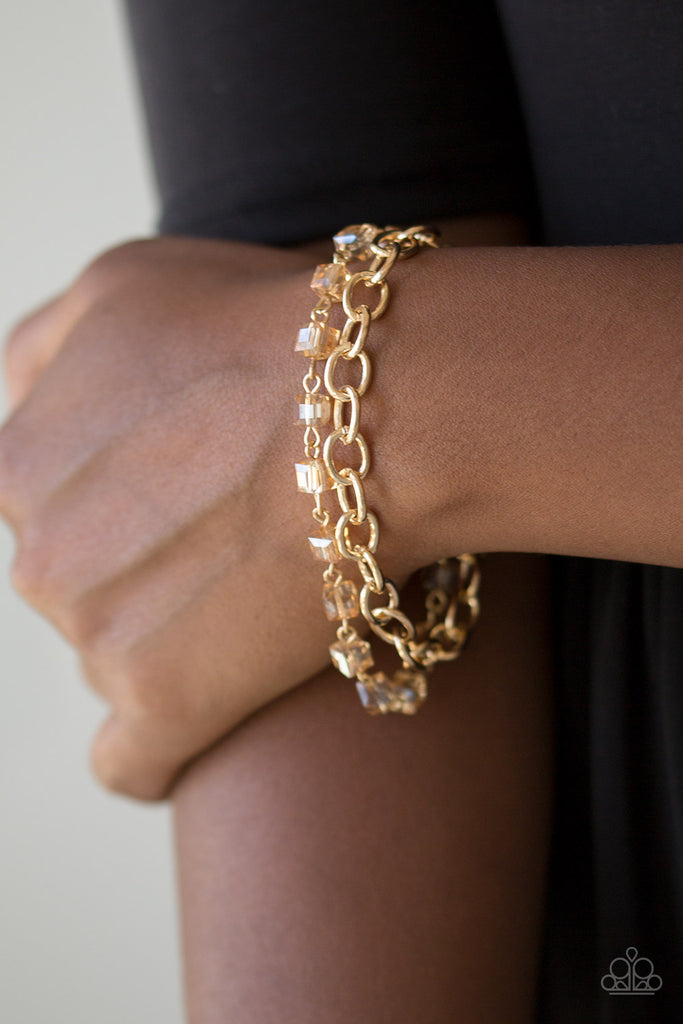 """Life Of The Block Party - Gold"" Cubed Beaded Chain Bracelet"