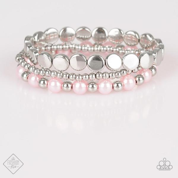 """Girly Girl Glamour"" Pink Faux Pearls & Silver 3 Beaded Bracelets"