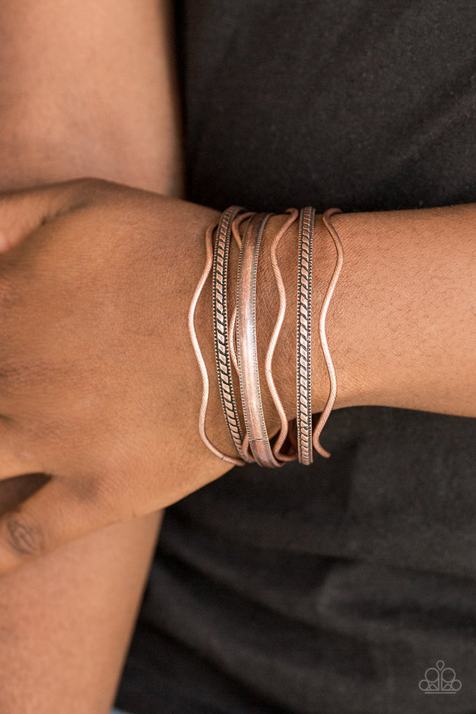 """Zesty Zimbabwe"" Tribal Inspired Copper Set of 7 Bangle Bracelets"