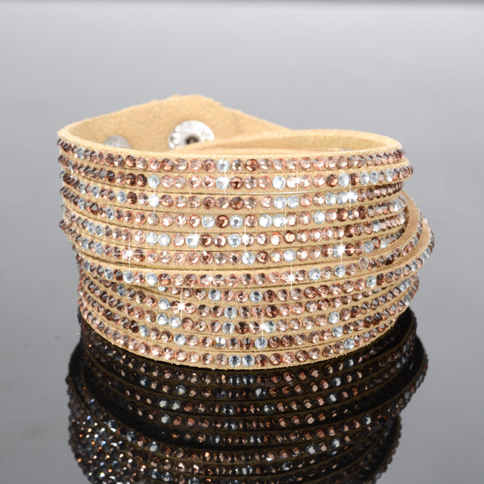 Golden Champagne Sparkly Rhinestone Double Wrap Suede Bracelet