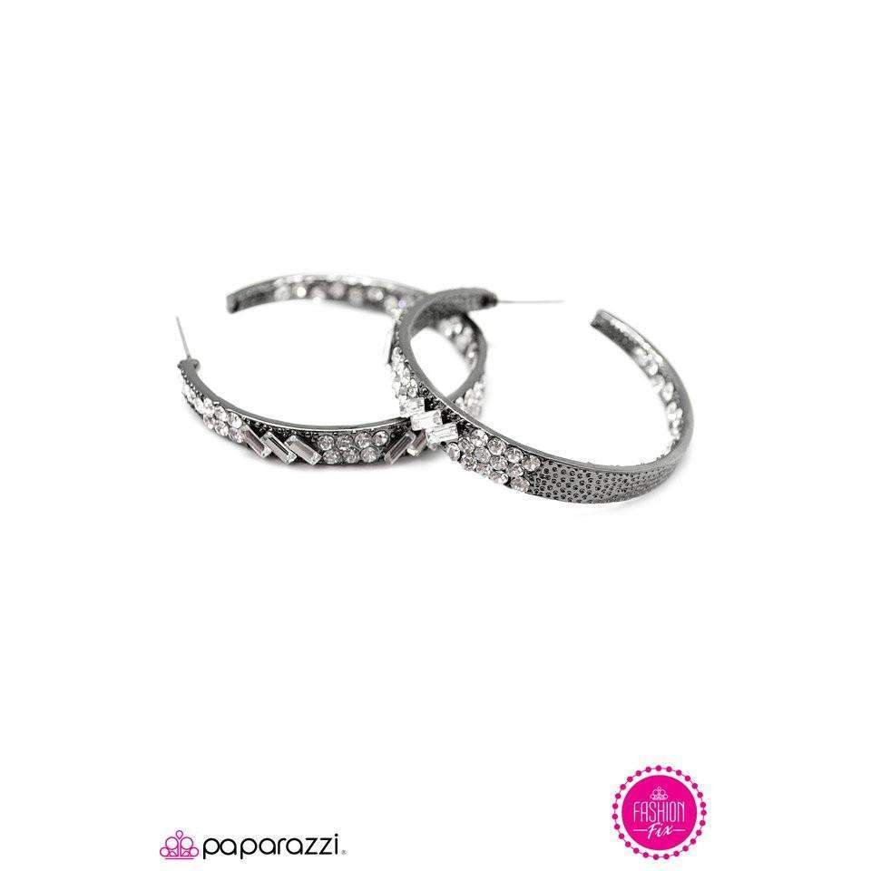 """GLITZY By Association - Gunmetal"" Sparkly Rhinestone Hoop Earrings"
