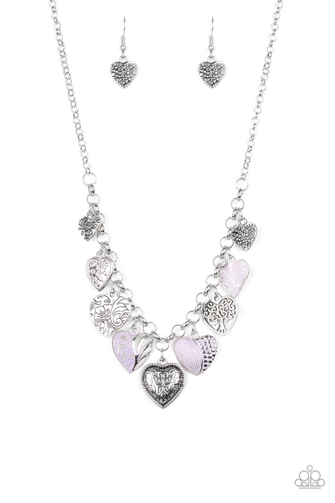 Paparazzi Grown Love Purple Heart Necklace & Earrings Set