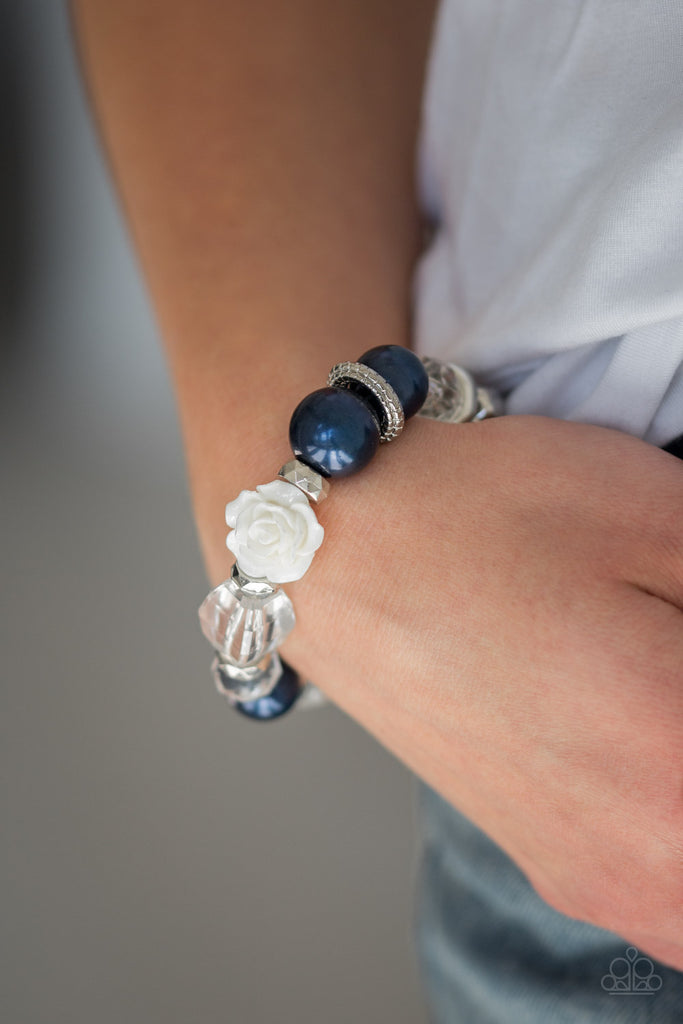"""Here I Am - Blue"" Flower & Beaded Stretch Bracelet"