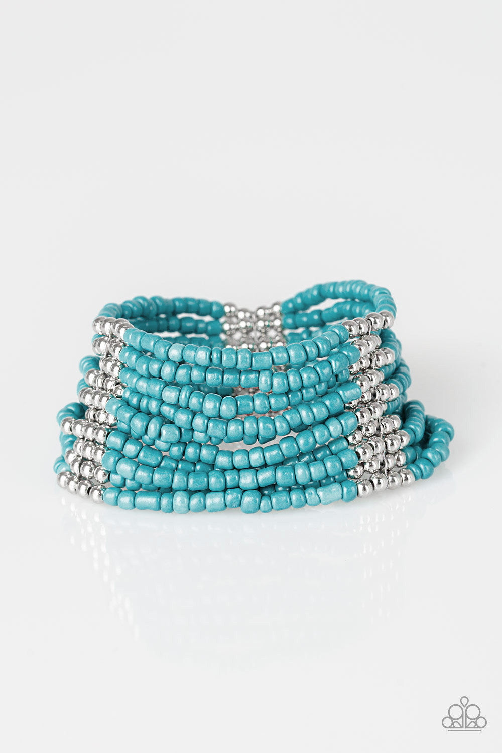 """Outback Odossey - Blue"" Seed Beads Stretch Bracelet"