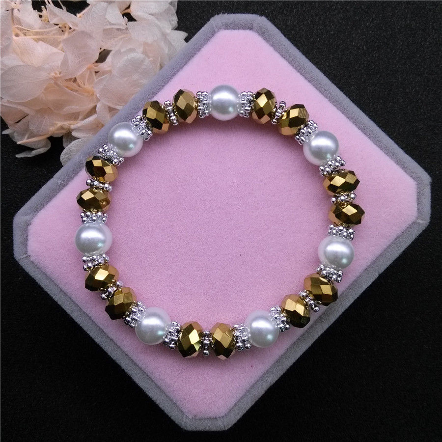 Golden Colored Crystal Beads 8mm Faux Pearl Silver Stretch Bracelet