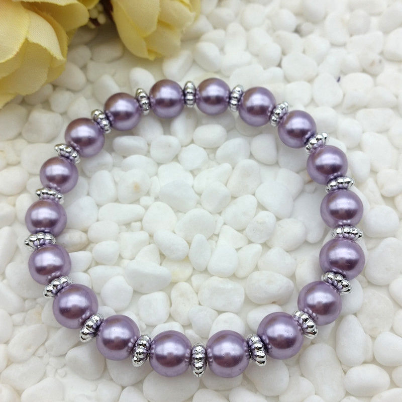 Light Purple Colored 8mm Faux Pearl Beads Stretch Bracelet