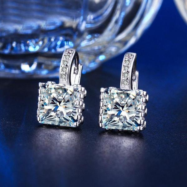 Princess Cut White Zircon .925 Silver Plated Earrings