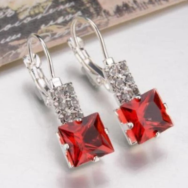 Red Square Silver Lever-back Earrings