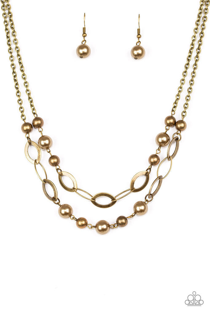Paparazzi Glimmer Takes All Brass Necklace & Earrings Set