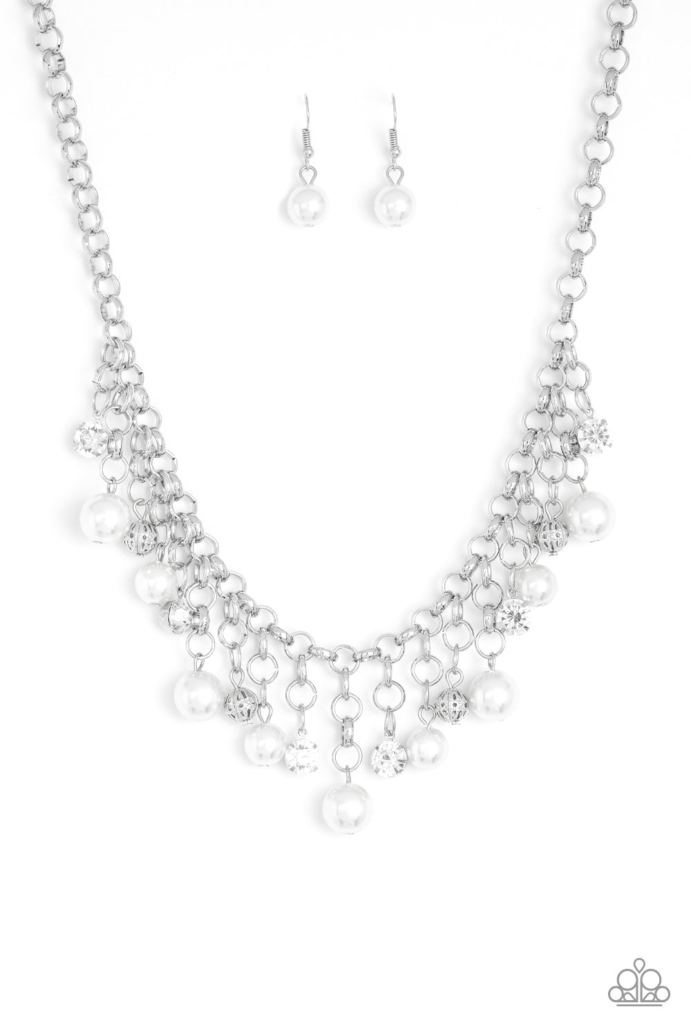 Paparazzi HEIR-headed - White Faux Pearl Rhinestone Necklace & Earrings Set