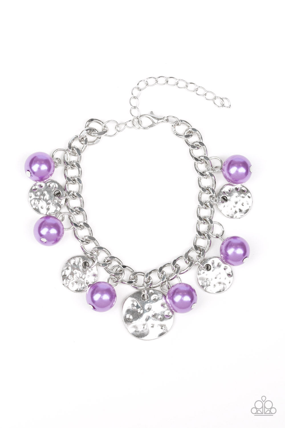 """SEA In A New Light - Purple"" Silver Beaded Bracelet"