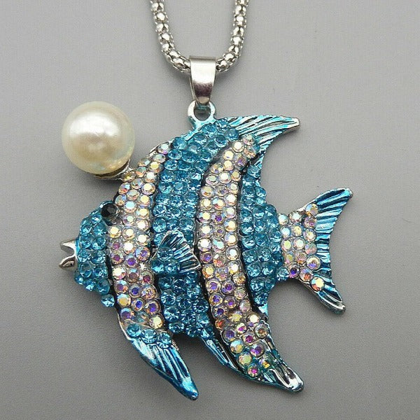Betsey Johnson Blue Fish Faux Pearl Rhinestone Pendant Necklace