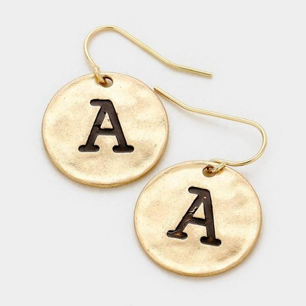 'A' Initial Monogram Letter Disc Gold Earrings