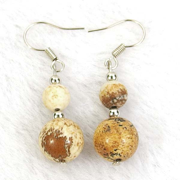 African Queen Picture Jasper Natural Gemstone Silver Earrings