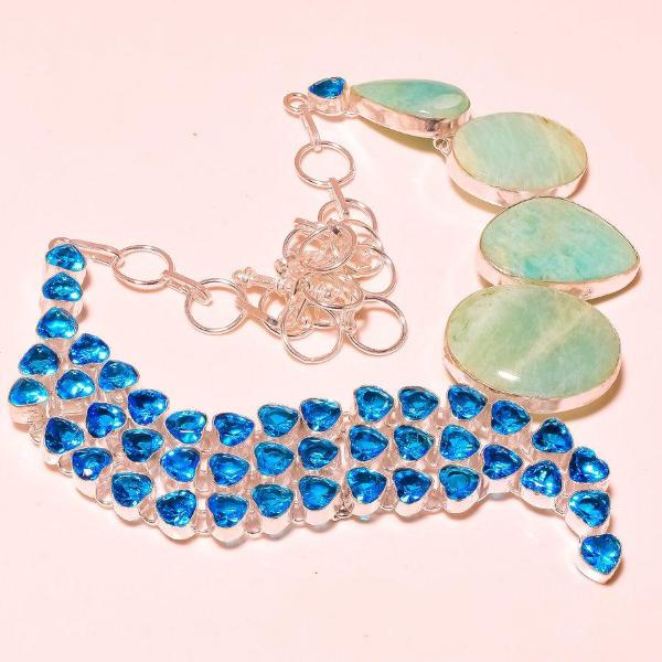 Amazonite With London Blue Topaz Faceted Gemstone Necklace 18""