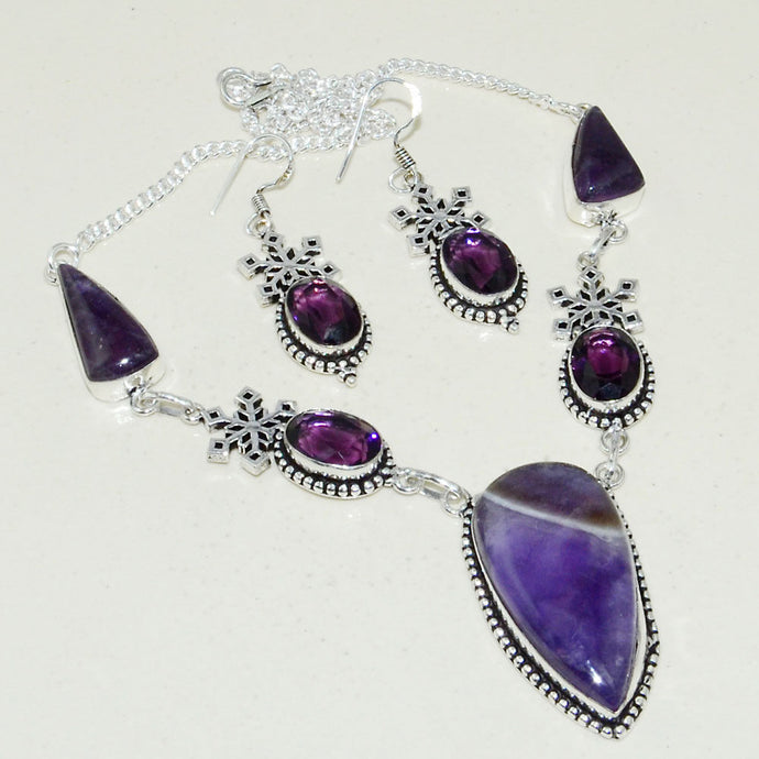 Purple Lace Agate & Amethyst Handmade Necklace Earrings 46 Grams