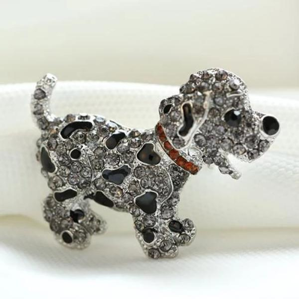 Puppy Dog Spotted Enamel Rhinestone Red Collar Silver Brooch Pin