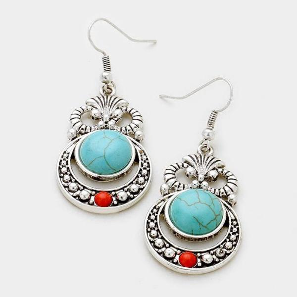 Turquoise Coral Red Bead Antique Silver Pierced Earrings