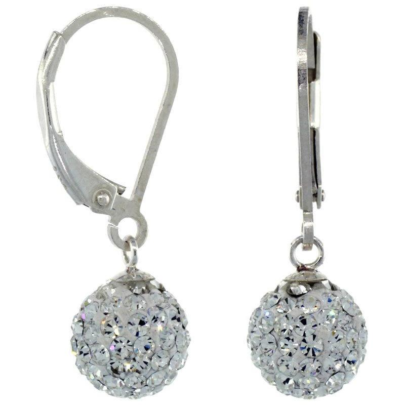 White Pave Rhinestone Disco Ball Silver Earrings
