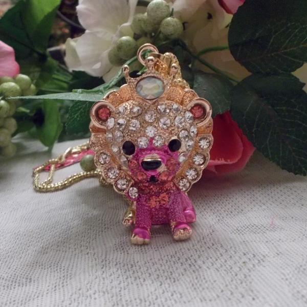 Betsey Johnson Pink Enamel White Inlaid Crystal Lion Necklace