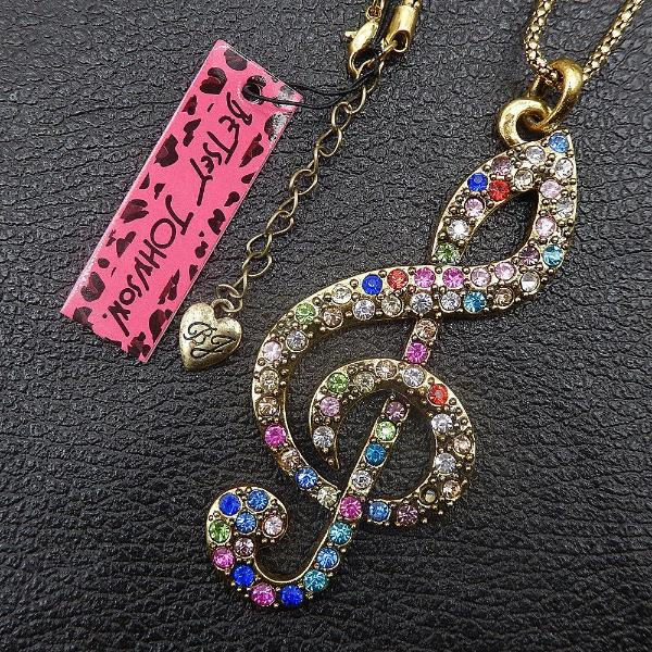 Betsey Johnson Multi-Color Crystal Inlay Music Note Pendant Necklace