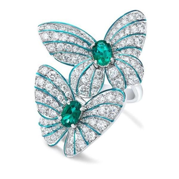 Butterfly Duo Green & White Crystal Silver Tone Ring Size 9