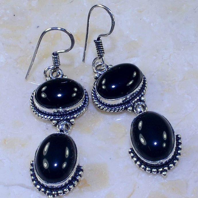 BLACK ONYX .925 SILVER PLATED DANGLE EARRINGS 2 1/2