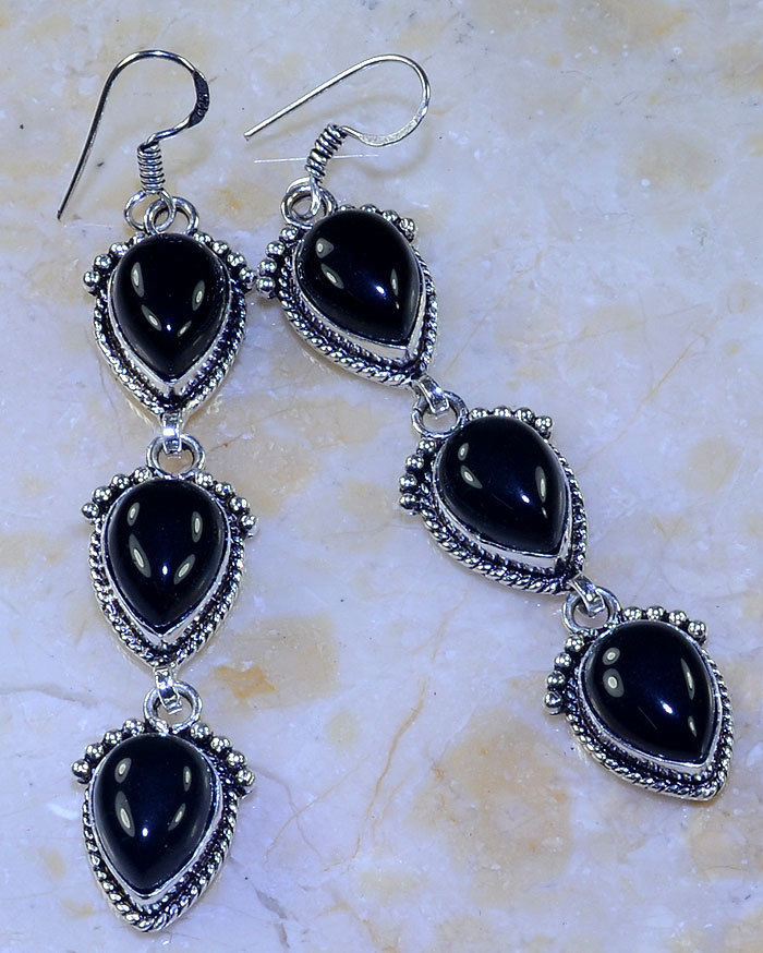 BLACK ONYX 3 STONE .925 SILVER OVERLAY HANDMADE EARRINGS